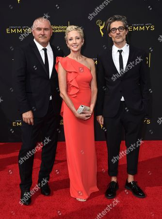 Tim Miller, Jennifer Miller, Alberto Mielgo. Tim Miller, and from left, Jennifer Miller, and Alberto Mielgo arrive at night one of the Television Academy's 2019 Creative Arts Emmy Awards, at the Microsoft Theater in Los Angeles