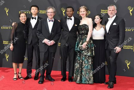 Stock Image of Diane Quon, Bing Liu, Gordon Quinn, Keire Johnson, Justine Nagan, Nina Bowgren, Jim Sommers. Diane Quon, from left, Bing Liu, Gordon Quinn, Keire Johnson, Justine Nagan, Nina Bowgren, and Jim Sommers arrive at night one of the Creative Arts Emmy Awards, at the Microsoft Theater in Los Angeles