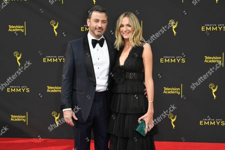 Jimmy Kimmel, Molly McNearney. Jimmy Kimmel, left, and Molly McNearney arrive at night one of the Creative Arts Emmy Awards, at the Microsoft Theater in Los Angeles