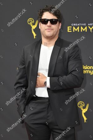 Adam Pally arrives at night one of the Creative Arts Emmy Awards, at the Microsoft Theater in Los Angeles