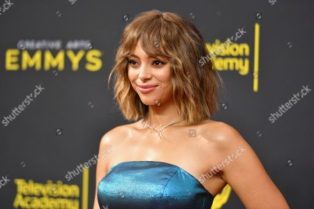 Amber Stevens West arrives at night one of the Creative Arts Emmy Awards, at the Microsoft Theater in Los Angeles