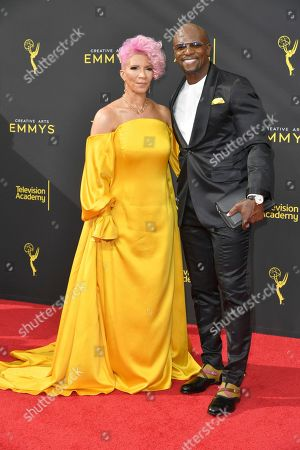 Rebecca King-Crews, Terry Crews. Rebecca King-Crews, left, and Terry Crews arrive at night one of the Creative Arts Emmy Awards, at the Microsoft Theater in Los Angeles