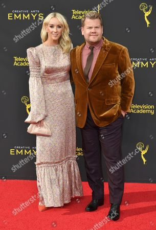 Julia Carey, James Corden. Julia Carey, left, and James Corden arrive at night one of the Creative Arts Emmy Awards, at the Microsoft Theater in Los Angeles