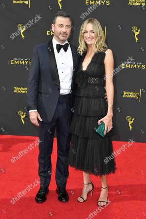 Jimmy Kimmel, Molly McNearne. Jimmy Kimmel, left, and Molly McNearney arrive at night one of the Creative Arts Emmy Awards, at the Microsoft Theater in Los Angeles