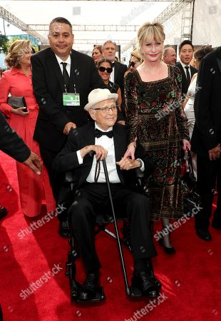 Norman Lear, Lyn Lear. Norman Lear, center, and Lyn Lear arrive at night one of the Television Academy's 2019 Creative Arts Emmy Awards, at the Microsoft Theater in Los Angeles
