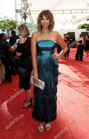 Amber Stevens West arrives at night one of the Television Academy's 2019 Creative Arts Emmy Awards, at the Microsoft Theater in Los Angeles