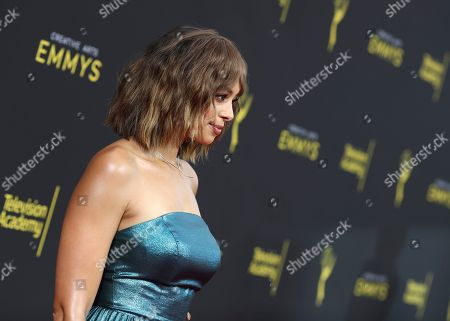 Amber Stevens West arrives at the Television Academy's 2019 Creative Arts Emmy Awards - Arrivals - Night One, at the Microsoft Theater in Los Angeles