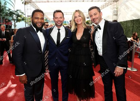 Anthony Anderson, Nick Kroll, Molly McNearney, Jimmy Kimmel. Anthony Anderson, and from left, Nick Kroll, Molly McNearney, and Jimmy Kimmel arrive at night one of the Television Academy's 2019 Creative Arts Emmy Awards, at the Microsoft Theater in Los Angeles