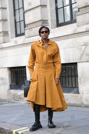 Editorial photo of Street Style, Spring Summer 2020, London Fashion Week, UK - 14 Sep 2019