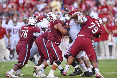 Alabama's Raekwon Davis (99) works during the second half of an NCAA college football game against South Carolina, in Columbia, S.C