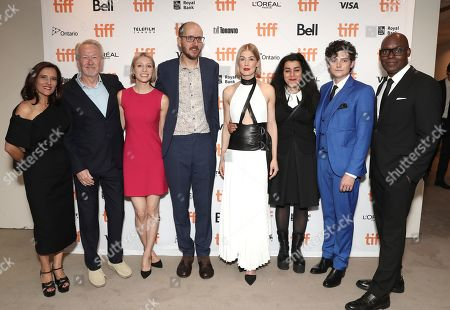 Joana Vicente, Paul Webster, Lauren Redniss, Jack Thorne, Rosamund Pike, Marjane Satrapi, Aneurin Barnard and Cameron Bailey