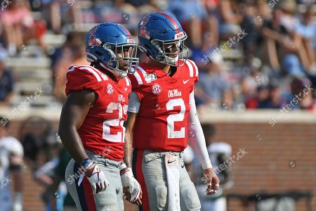 Scottie Phillips, Matt Corral. Mississippi running back Scottie Phillips (22) and quarterback Matt Corral (2) talk before a play during the first half of an NCAA college football game against Southeastern Louisiana in Oxford, Miss