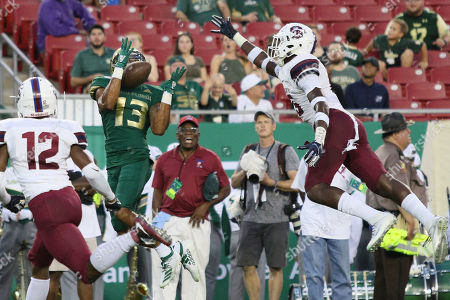 South Florida Bulls wide receiver Eddie McDoom (13) catches the ball as South Carolina State Bulldogs linebacker BJ Davis (15) contests during the NCAA football game between the South Carolina State Bulldogs and the South Florida Bulls held at Raymond James Stadium in Tampa, Florida. Andrew J