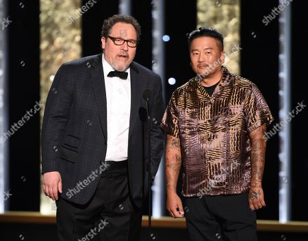Jon Farvreau, Roy Choi. Jon Farvreau, left, and Roy Choi speak on stage on night one of the Television Academy's 2019 Creative Arts Emmy Awards, at the Microsoft Theater in Los Angeles