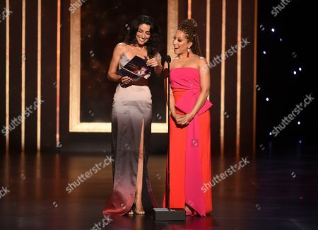 Necar Zadegan, Robin Thede. Necar Zadegan, left, and Robin Thede speak on stage on night one of the Television Academy's 2019 Creative Arts Emmy Awards, at the Microsoft Theater in Los Angeles