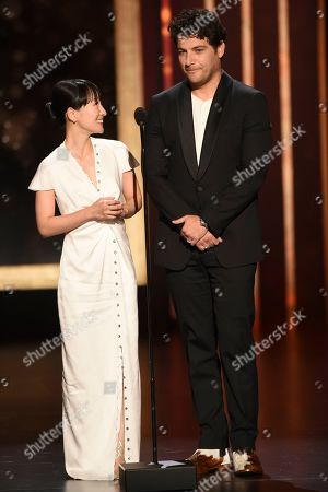 Marie Kondo, Adam Pally. Marie Kondo, left, and Adam Pally speak on stage on night one of the Television Academy's 2019 Creative Arts Emmy Awards, at the Microsoft Theater in Los Angeles