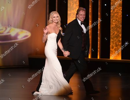 Stock Picture of Mandy Hansen, Sig Hansen. Mandy Hansen, left, and Sig Hansen walk on stage on night one of the Television Academy's 2019 Creative Arts Emmy Awards, at the Microsoft Theater in Los Angeles