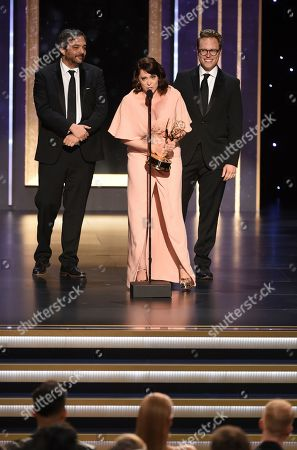 "Adam Schlesinger, Rachel Bloom, Jack Dolgen. Adam Schlesinger, from left, Rachel Bloom, and Jack Dolgen accept the award for outstanding original music and lyrics for ""Crazy Ex-Girlfriend"" for ""Antidepressants are so not a big deal"" on night one of the Television Academy's 2019 Creative Arts Emmy Awards, at the Microsoft Theater in Los Angeles"