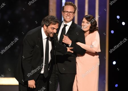 "Adam Schlesinger, Jack Dolgen, Rachel Bloom. Adam Schlesinger, from left, Jack Dolgen, and Rachel Bloom accept the award for outstanding original music and lyrics for ""Crazy Ex-Girlfriend"" for ""Antidepressants are so not a big deal"" on night one of the Television Academy's 2019 Creative Arts Emmy Awards, at the Microsoft Theater in Los Angeles"