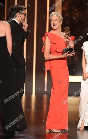 """EXCLUSIVE - Jennifer Miller accepts the award for outstanding short form animated program for """"Love, Death & Robots - The Witness"""" on night one of the Television Academy's 2019 Creative Arts Emmy Awards, at the Microsoft Theater in Los Angeles"""
