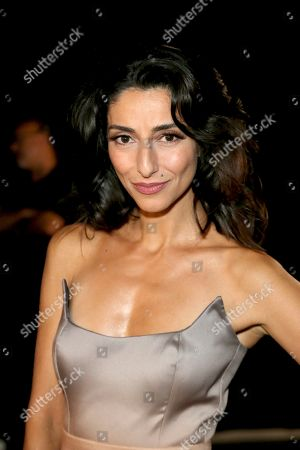 Stock Photo of Necar Zadegan poses backstage during night one of the Television Academy's 2019 Creative Arts Emmy Awards, at the Microsoft Theater in Los Angeles