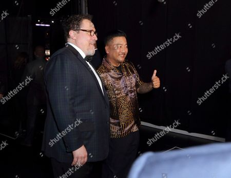 Roy Choi, right, attends night one of the Television Academy's 2019 Creative Arts Emmy Awards, at the Microsoft Theater in Los Angeles