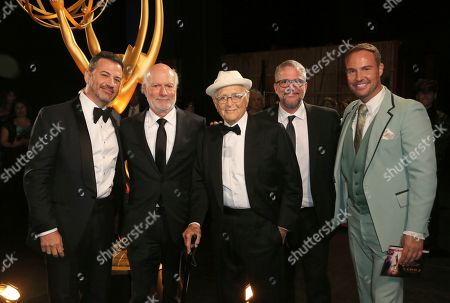 Jimmy Kimmel, James Burrows, Norman Lear, Brent Miller. Jimmy Kimmel, from left, James Burrows, Norman Lear, guest, and Brent Miller pose backstage at night one of the Television Academy's 2019 Creative Arts Emmy Awards, at the Microsoft Theater in Los Angeles