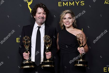 """Billy Hopkins, Ashley Ingram. Billy Hopkins, left, and Ashley Ingram poses in the press room with the award for outstanding casting for a limited series, movie or special for """"When They See Us"""" on night one of the Creative Arts Emmy Awards, at the Microsoft Theater in Los Angeles"""