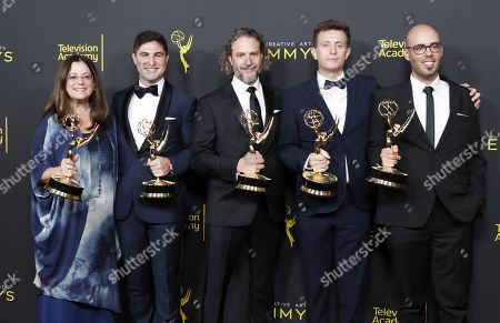 Deborah Wallach, Felipe Messeder, Jim Schultz, Roland Vajs and Nuno Bento pose in the pressroom with the Emmy for Outstanding Sound Editing for a NonfictionProgram (single of Multi Camera) for 'Free Solo' during the 2019 Creative Arts Emmy Awards at the Microsoft Theater in Los Angeles, California, USA, 14 September 2019. The Creative Arts Emmy Awards honor excellence in Television technical categories such as makeup, casting direction, costume design, editing and cinematography. The 71st Primetime Emmy Awards Ceremony will take place on 22 September 2019.
