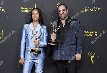 Zaldy Goco and Art Conn pose in the pressroom with the Emmy for Outstanding Costumes for Variety, Nonfiction or Reality Programming for 'RuPaul's Drag Race' during the 2019 Creative Arts Emmy Awards at the Microsoft Theater in Los Angeles, California, USA, 14 September 2019. The Creative Arts Emmy Awards honor excellence in Television technical categories such as makeup, casting direction, costume design, editing and cinematography. The 71st Primetime Emmy Awards Ceremony will take place on 22 September 2019.