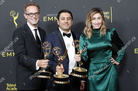 Sam Bisbee, Rudy Valez and Theodora Dunlap pose in the pressroom with the Emmy for Exceptional Merit in Documentary Filmmaking for 'The Sentence' during the 2019 Creative Arts Emmy Awards at the Microsoft Theater in Los Angeles, California, USA, 14 September 2019. The Creative Arts Emmy Awards honor excellence in Television technical categories such as makeup, casting direction, costume design, editing and cinematography. The 71st Primetime Emmy Awards Ceremony will take place on 22 September 2019.