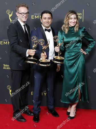 Stock Image of Sam Bisbee, Rudy Valez and Theodora Dunlap pose in the pressroom with the Emmy for Exceptional Merit in Documentary Filmmaking for 'The Sentence' during the 2019 Creative Arts Emmy Awards at the Microsoft Theater in Los Angeles, California, USA, 14 September 2019. The Creative Arts Emmy Awards honor excellence in Television technical categories such as makeup, casting direction, costume design, editing and cinematography. The 71st Primetime Emmy Awards Ceremony will take place on 22 September 2019.