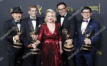 Bernie Su, Evan Mandery, Michael Y. Chow, Bonnie Buckner and Ken Kalopsis pose in the pressroom with the Emmy for Outstanding Innovation in Interactive Media for 'Artificial' during the 2019 Creative Arts Emmy Awards at the Microsoft Theater in Los Angeles, California, USA, 14 September 2019. The Creative Arts Emmy Awards honor excellence in Television technical categories such as makeup, casting direction, costume design, editing and cinematography. The 71st Primetime Emmy Awards Ceremony will take place on 22 September 2019.
