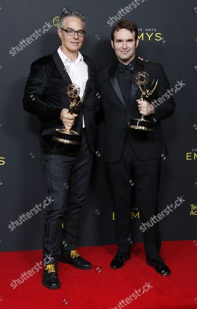 Marco Beltrami and Brandon Roberts pose in the pressroom with the Emmy for Outstanding Music Composition for a Documentary Series or Special (Original Dramatic Score) for 'Free Solo' during the 2019 Creative Arts Emmy Awards at the Microsoft Theater in Los Angeles, California, USA, 14 September 2019. The Creative Arts Emmy Awards honor excellence in Television technical categories such as makeup, casting direction, costume design, editing and cinematography. The 71st Primetime Emmy Awards Ceremony will take place on 22 September 2019.
