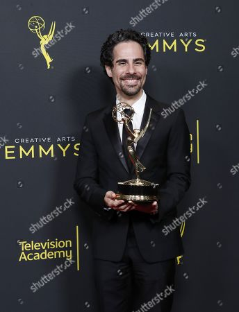Alex Lacamoire poses in the pressroom with the Emmy for Outstanding Music Direction for 'Fosse/Verdon' during the 2019 Creative Arts Emmy Awards at the Microsoft Theater in Los Angeles, California, USA, 14 September 2019. The Creative Arts Emmy Awards honor excellence in Television technical categories such as makeup, casting direction, costume design, editing and cinematography. The 71st Primetime Emmy Awards Ceremony will take place on 22 September 2019.