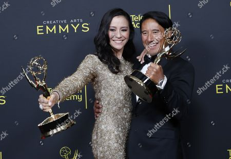 Elizabeth Chai Vasarhelyi and Jimmy Chin pose in the pressroom with the Emmy for Outstanding Directing for a Documentary/Nonfiction Program for 'Free Solo' during the 2019 Creative Arts Emmy Awards at the Microsoft Theater in Los Angeles, California, USA, 14 September 2019. The Creative Arts Emmy Awards honor excellence in Television technical categories such as makeup, casting direction, costume design, editing and cinematography. The 71st Primetime Emmy Awards Ceremony will take place on 22 September 2019.