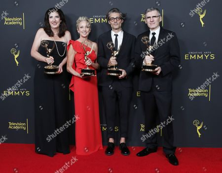 Jennifer Miller, Victoria Howard, Alberto Mielgo and Gabriele Pennacchioli pose in the pressroom with the Emmy for Outstanding Short Form Animated Program for 'Love, Death & Robots' during the 2019 Creative Arts Emmy Awards at the Microsoft Theater in Los Angeles, California, USA, 14 September 2019. The Creative Arts Emmy Awards honor excellence in Television technical categories such as makeup, casting direction, costume design, editing and cinematography. The 71st Primetime Emmy Awards Ceremony will take place on 22 September 2019.