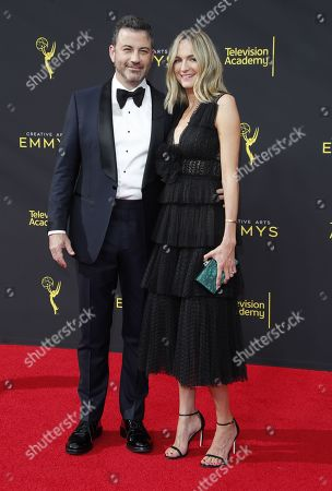 Jimmy Kimmel and Molly McNearney arrives on the red carpet for the 2019 Creative Arts Emmy Awards at the Microsoft Theater in Los Angeles, California, USA, 14 September 2019. The Creative Arts Emmy Awards honor excellence in Television technical categories such as makeup, casting direction, costume design, editing and cinematography. The 71st Primetime Emmy Awards Ceremony will take place on 22 September 2019.