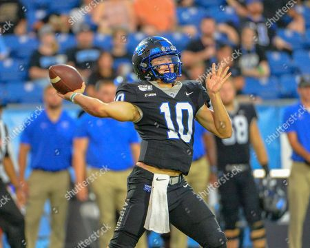 Middle Tennessee quarterback, Asher O'Hara (10), in action during the NCAA football game between the Duke Blue Devils and the Middle Tennessee Blue Raiders at Johnny Floyd Stadium in Murfreesboro, TN. Credit: Kevin Langley/Sports South Media/CSM