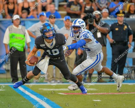 Duke defensive end, Chris Rumph II (96), chases MTSU quarterback, Asher O'Hara (10), during the NCAA football game between the Duke Blue Devils and the Middle Tennessee Blue Raiders at Johnny Floyd Stadium in Murfreesboro, TN. Credit: Kevin Langley/Sports South Media/CSM