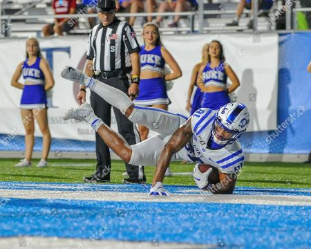 Duke wide receiver, Aaron Young (81), makes a dive in the end zone after catching a pass, during the NCAA football game between the Duke Blue Devils and the Middle Tennessee Blue Raiders at Johnny Floyd Stadium in Murfreesboro, TN. Credit: Kevin Langley/Sports South Media/CSM