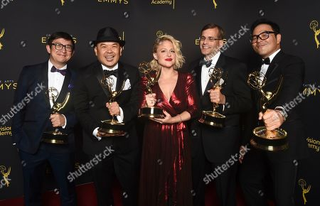 """Stock Picture of Ken Kalopsis, from left, Bernie Su, Bonnie Buckner, Evan Mandery, Michael Y. Chow winners of the award for outstanding innovation in interactive media for """"Artificial"""" pose for a portrait on night one of the Television Academy's 2019 Creative Arts Emmy Awards, at the Microsoft Theater in Los Angeles"""
