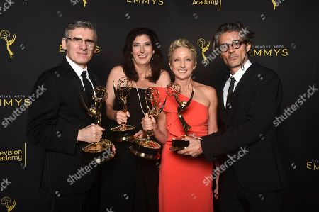 """Victoria Howard, Gabriele Pennacchioli, Alberto Mielgo, Jennifer Miller. Gabriele Pennacchioli, from left, Victoria Howard, Jennifer Miller and Alberto Mielgo, winners of the award for outstanding short form animated program for """"Love, Death & Robots - The Witness"""" pose for a portrait on night one of the Television Academy's 2019 Creative Arts Emmy Awards, at the Microsoft Theater in Los Angeles"""