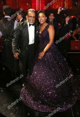 Stock Picture of Carlton Pearson, Majesty pearson. Carlton Pearson, left, and Majesty pearson attend the Governors Ball during night one of the Television Academy's 2019 Creative Arts Emmy Awards, at the Microsoft Theater in Los Angeles