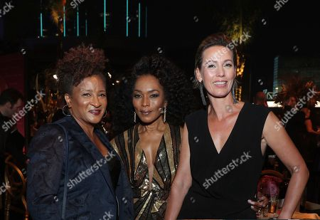 Stock Photo of Wanda Sykes, Angela Bassett, Alex Sykes. Wanda Sykes, from left, Angela Bassett and Alex Sykes attend the Governors Ball during night one of the Television Academy's 2019 Creative Arts Emmy Awards, at the Microsoft Theater in Los Angeles