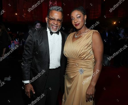 Stock Photo of Rev. Carlton Pearson, Danielle Melton. Rev. Carlton Pearson, left, and Danielle Melton attend the Governors Ball during night one of the Television Academy's 2019 Creative Arts Emmy Awards, at the Microsoft Theater in Los Angeles