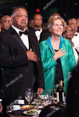 Stock Picture of Reverend Jesse Jackson and Elizabeth Warren