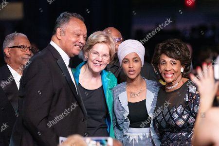 Stock Photo of Reverend Jesse Jackson, Elizabeth Warren, Ilhan Omar and Maxine Waters