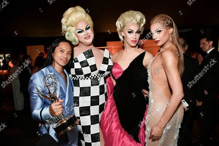 Stock Picture of Zaldy Goco, Nina West, Brooke Lynn Hytes, Valentina. Zaldy Goco, from left, Nina West, Brooke Lynn Hytes and Valentina attend the Governors Ball on night one of the Creative Arts Emmy Awards, at the Microsoft Theater in Los Angeles