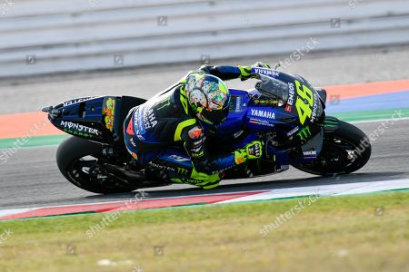 Italian MotoGP rider Valentino Rossi of Yamaha Factory Racing in action during the warm-up before the Motorcycling Grand Prix of San Marino and Riviera di Rimini at the Misano Circuit in Santa Monica-Cella, northern Italy, 15 September 2019.